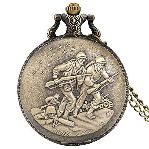 Reloj de Bolsillo Retro diseño de Bronce Antiguo Reloj de Bolsillo de Cuarzo suéter Collar Cadena Colgante Recuerdo Reloj de Bolsillo Regalo