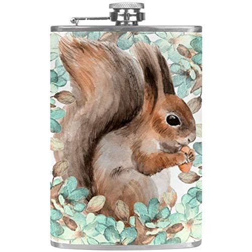 Bennigiry Herren Flachmann mit Eichhörnchen und Blumen, Aquarell, Edelstahl, Weintopf, Ledertasche, für die Aufbewahrung von Whisky, Alkohol, Likör, 227 ml