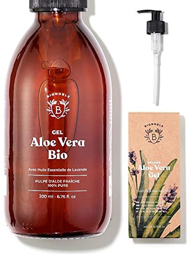 GEL ALOE VERA BIO | Fabriqué avec Pulpe d'Aloe Fraîche 100% Pure et Lavande Bio | Sans Xanthane | Visage, Contour des Yeux, Corps, Cheveux | Bouteille en Verre + Pompe (200ml)