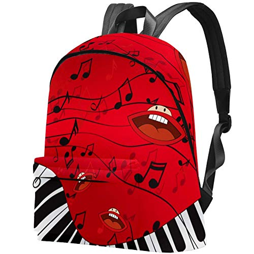 Musik mit Klavier Bag Teens Student Bookbag Leichte Umhängetaschen Reiserucksack Tägliche Rucksäcke