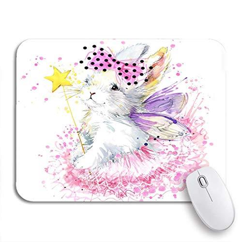 Gaming mouse pad pink hübsches häschen weißes kaninchen aquarell für tee graphics rutschfeste gummiunterlage mousepad für notebooks computer mausmatten