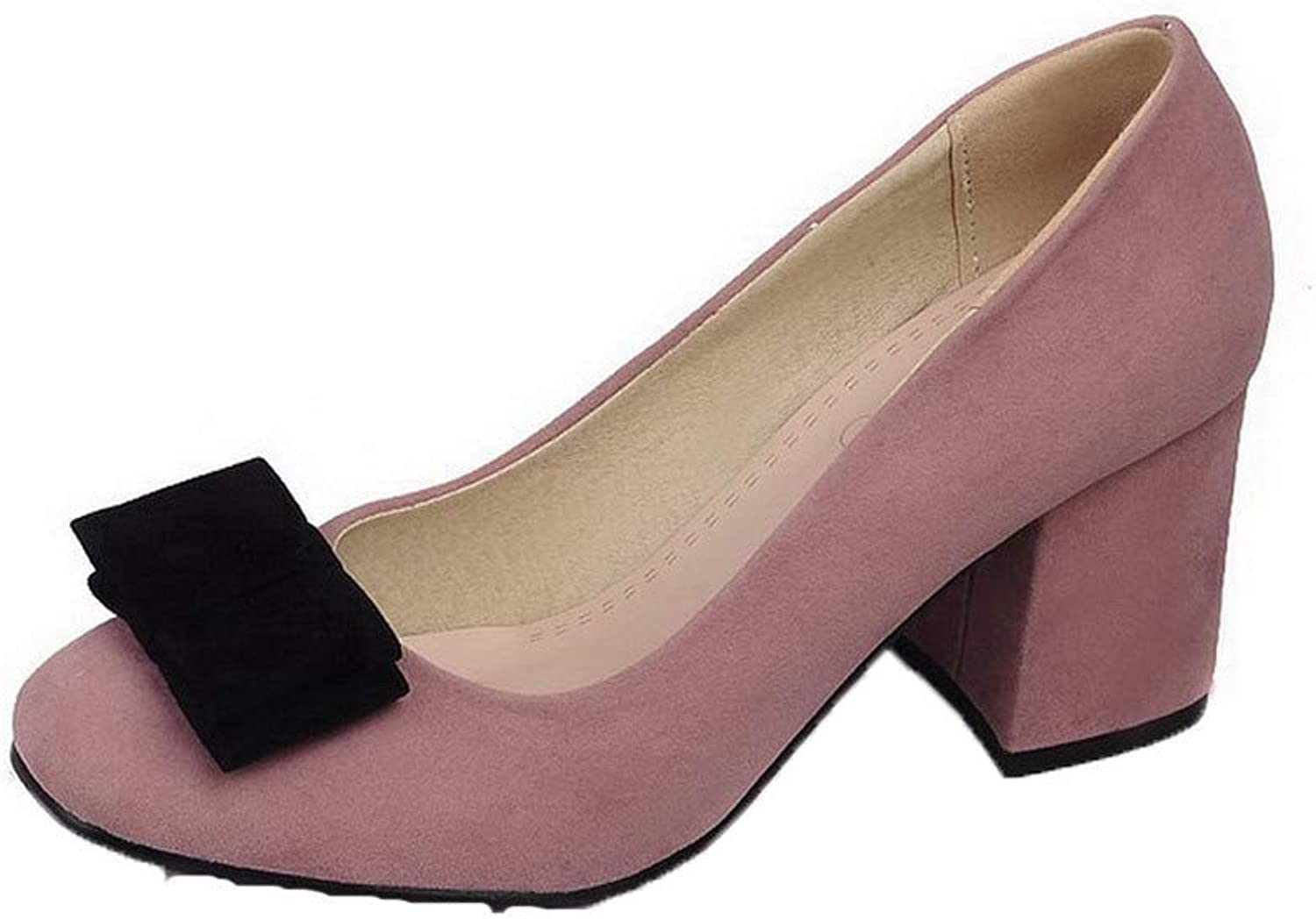 AllhqFashion Women's Square Toe Kitten-Heels Frosted Solid Pull-On Pumps-shoes, FBUDD010841