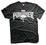 Photo de Officiellement sous Licence Marvel's The Punisher Distressed Logo T-Shirt pour Hommes (Noir), X-Large