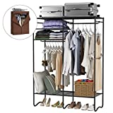 LANGRIA Extra-Large Heavy-Duty Zip Up Closet Shoe Organizer with Detachable Brown Cloth Cover Wardrobe Metal...