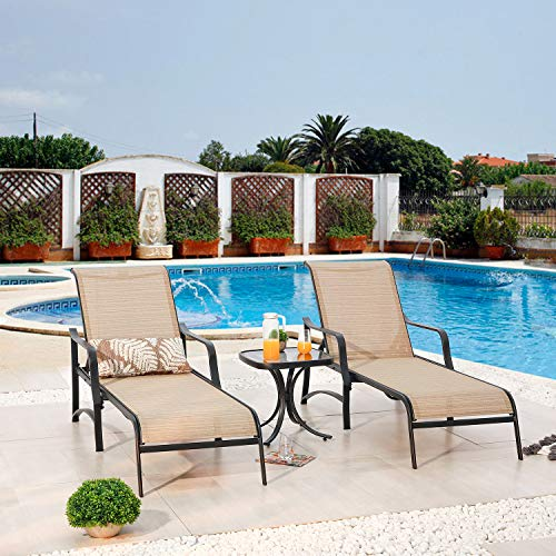 Festival Depot 3 Pc Patio Bistro Outdoor Chaise Lounge Chair Set Textilene Furniture Metal Adjustable Back Curved Armrest With Glass Desktop Coffee Side Table Adjustable Leg for Pool Yard Garden,Beige
