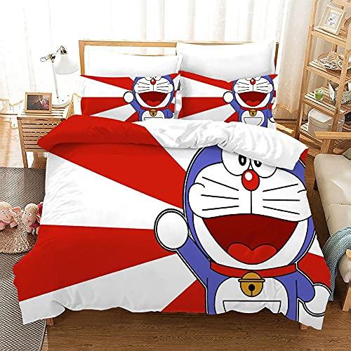 YGWDPX Doraemon Juego de Funda de Edredón 135x200 cm Juego de Ropa de Cama 2 Piezas Incluye 1 Funda Nórdica con Cierre de Cremallera y 1 Funda de Almohada 50x75 cm,Suave Transpirable