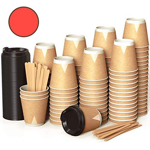 100 Gewellt Kraft Pappbecher 360 ml Coffee to Go 12 Oz mit Deckel und Holz Rührstäbchen Zum Servieren von Kaffee, Tee, Heißen und Kalten Getränken