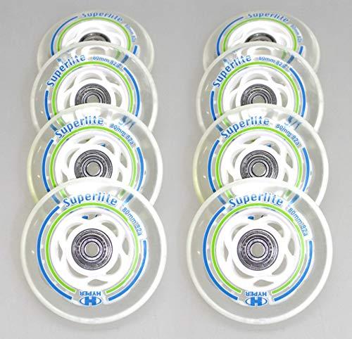 Hyper 8er Rollen Superlite 80mm für K 2 Skates Inliner fertig montiert - Einbauen losfahren Rolle 80mm + Kugellager ABEC 7 + Spacer 6mm