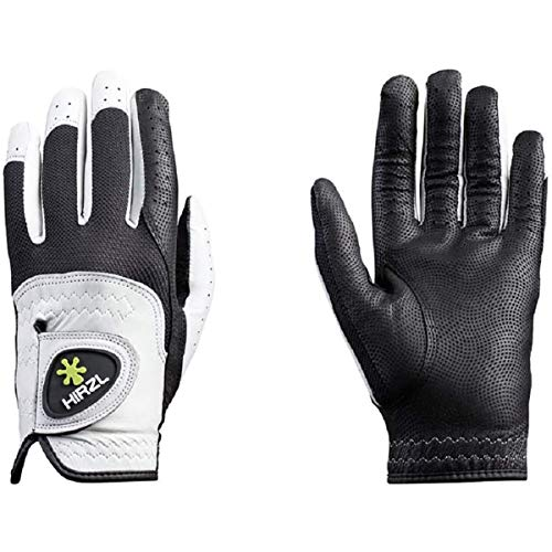 HIRZL Trust Control 2.0 Golf Gloves – All Weather Mens Golf Glove (White/Black) | Kangaroo Leather Palm, Cabretta Leather Backhand | Trusted by Pro's | Sweat Free, Ultimate Grip, Comfort, Stretch Fit