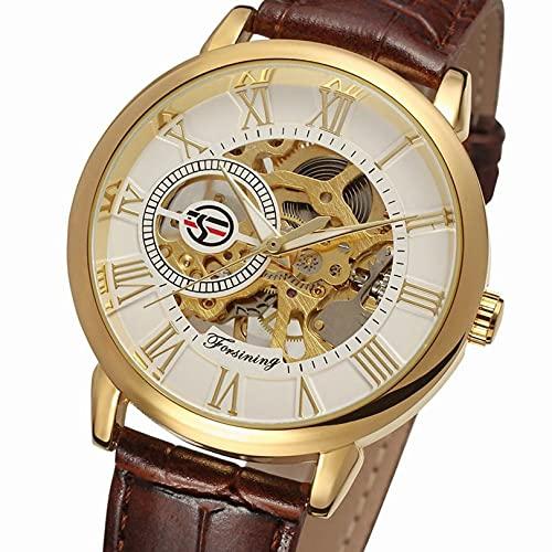 Excellent Reloj para Hombre Mecánico de Lujo Acero Inoxidable Skeleton Automático Mecánico Mecánico Reloj Muñeca Reloj de Cuero Casual,A06