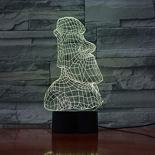 3D Lamp Easter Island Stone Moai Grass Color Change with 3D Illusion Room Decoration Led Night Light Lamp