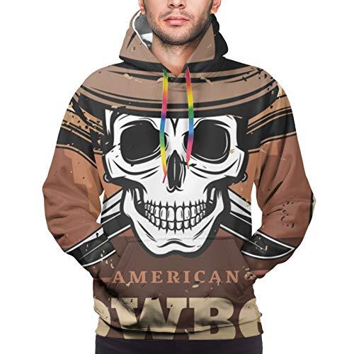 Hangdachang Schädel in Lederhut mit gekreuzten Messern und Wild West Desert Men 3D-Print Pullover Hoodie Sweatshirt mit Fronttasche XXL