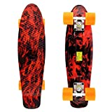 MEKETEC Skateboard Complete 22 Inches Retro Mini Cruiser (Red Flame)