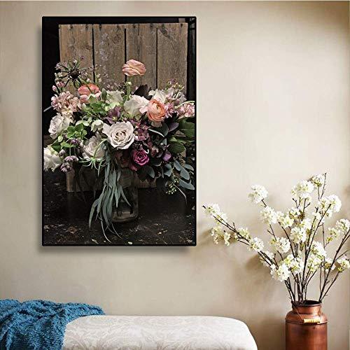 WPJ Affiche de Peinture de Toile de Fleur, Affiches et...