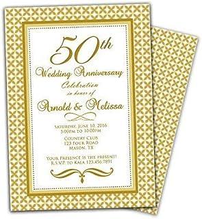 Gold 50th Wedding Anniversary Party Invitation Elegant