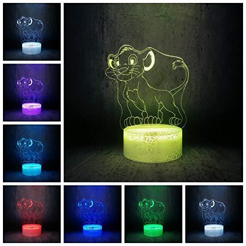 3D Illusion Lampe Led Veilleuse Simba Lion Chambre Décor Chambre E Luminaria Enfants D'Anniversaire Vacances Cadeau Table Lampe