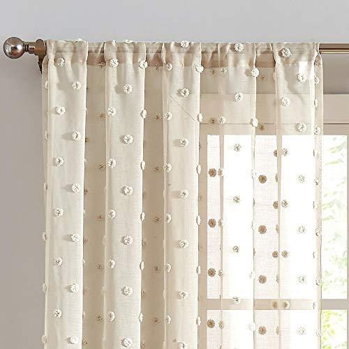 Sheer Curtains Pompom Beige Voile Pom pom Window Curtains for Bedroom Girls Room Nursery Kids Teenage Room Rod Pocket 2 Panels 72 inch Long Curtain Set