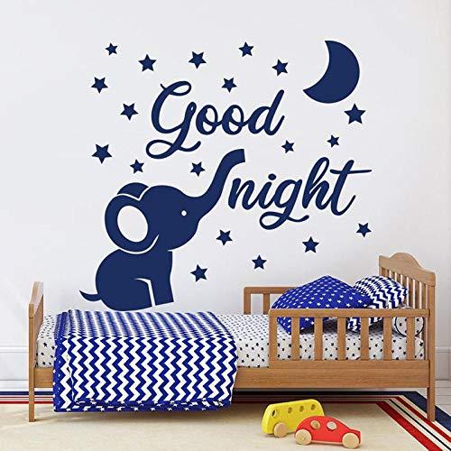 Elefant Wandtattoo Mond und Stern gute Nacht Baby Zimmer Dekor Vinyl Wandtattoo für Kinderzimmer Kinderzimmer Dekoration Tapete 57x62cm