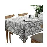 Meiosuns Grey Retro Tischdecke Rechteckige Tischdecke Baumwolle Leinen Tischdecke Geeignet für Home Küche Dekoration, Verschiedene Größen (120x120cm)