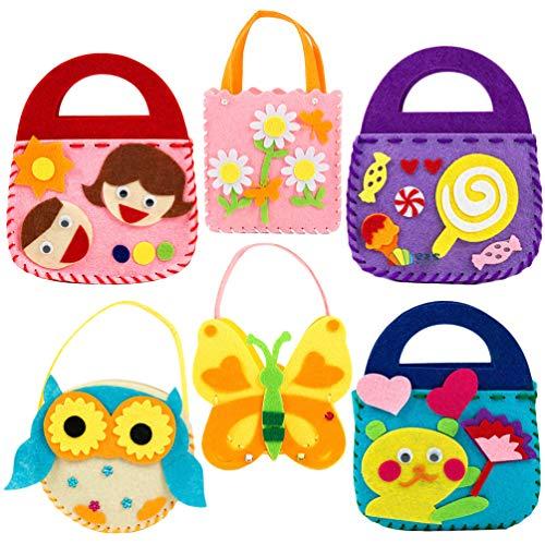 TOYANDONA Diy Draagtas Diy Naaisetje Voor Meisjes Graffiti Party Goodie Bags Gunst Non-Woven Tas Verjaardagscadeau Voor Kinderen (Assortiment Patronen)
