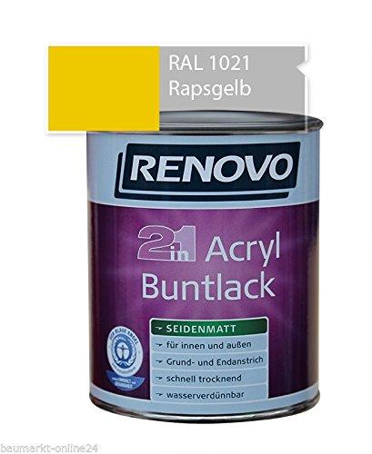 Acryl-Buntlack 2-in-1 375 ml RAL 1021 Rapsgelb seidenmatt Renovo
