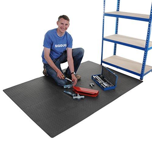 Pack Of 6 Garage Interlocking Floor Tile Set Ideal For Workshop Gym Flooring (Pack Of 6 - Black Set 120cm x 180cm)