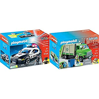 PLAYMOBIL Police Cruiser & Green Recycling Truck