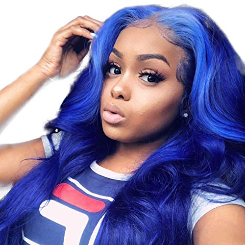BURFLY Frauen Perücke Weniger Spitze Gerade Synthetische Vordere Volle Perücke Bob Wave Natural Hair Mode Blue Damen Lange Perücke