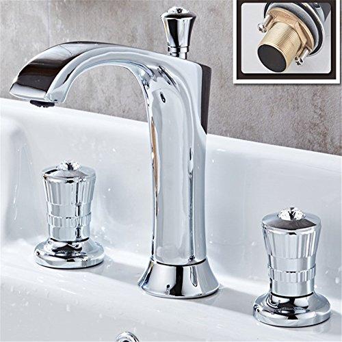 WasserhahnTap Vertical Trois pièces Bassin Robinet cuivre Peint Style européen Salle de Bains lavabo Robinet kit Blanc argenté