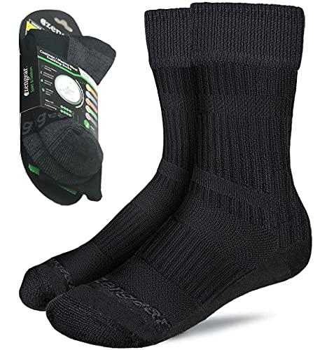 Calcetines de Senderismo y Trekking de Lana Merino y Coolmax para Hombres y Mujeres - Ciclismo - Punta sin Costuras - Acolchado - Transpirable y Suave (Negro (1 Par), XL (EU 45-49; UK 10.5-14))
