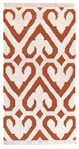HAMID - Alfombra Kilim Naipe con Diseño Geométrico - 100% Lana - Alfombra Anudada a Mano - Alfombra de Pasillo, Salón, Dormitorio, Sala de Estar - Caldera (80x150cm)