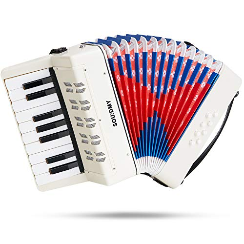 Souidmy Kids Accordion, 17 Keys 8 Bass piano Accordion, Toy Accordian, Mini Musical Instruments for Early Childhood Teaching, Good Gift for Beginners