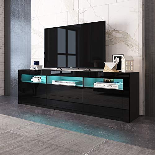UNDRANDED Modern TV Lowboard mit 2 Türen 2 Schubladen Fernsehtisch Einheit 160cm Schrank Matt und Hochglanz KOSTENLOS 16 Farben RGB LED Streifen (Schwarz)