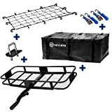 Nevlers Folding Hitch Mount Cargo Carrier with Net, Cargo Storage Bag, 2 Blue Ratchet Straps and...