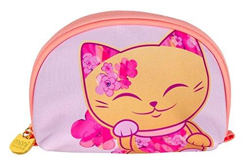Pochette - trousse à maquillage chat porte bonheur Mani the Lucky Cat rose - doré