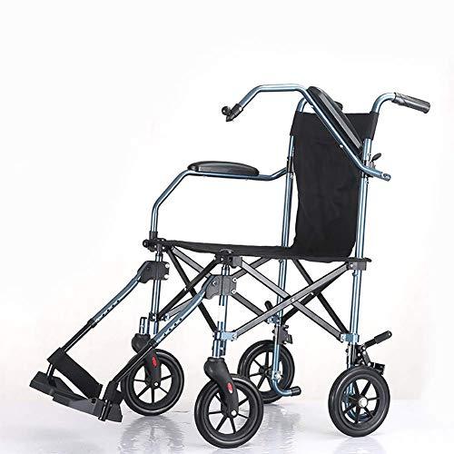 Ultraleichter Rollstuhl, Der Aluminiumlegierungs-Rahmen-Transport-Multifunktionsrehabilitations-Therapie-Versorgungsmaterialien Faltet Erwachsener Älterer Untauglicher, Blau, TWL LTD-Wheelchairs