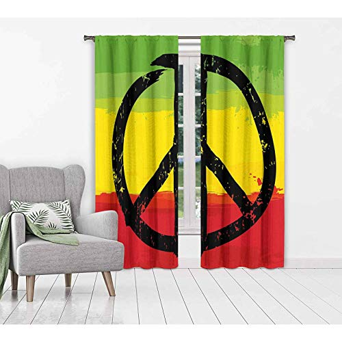 Rasta Window Curtains/Drapes Grunge Style Watercolor Design Flag Colors Hippie Peace Sign Room Darkening Drapes for Living Room 55x63 inch Black Green Yellow and Red