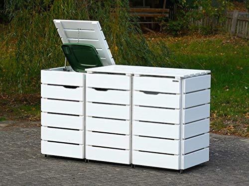 3er Mülltonnenbox / Mülltonnenverkleidung 120 L Holz, Deckend Geölt Weiß - 2