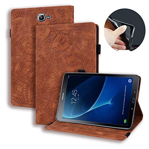 Lspcase Galaxy Tab A6 Tasche Flip Schutzhülle Brieftasche Etui Stand Kartenfächer Stifthalter Hülle für Samsung Galaxy Tab A 2016 10.1 Zoll SM-T580 SM-T585 Braun Mandala Blume Muster