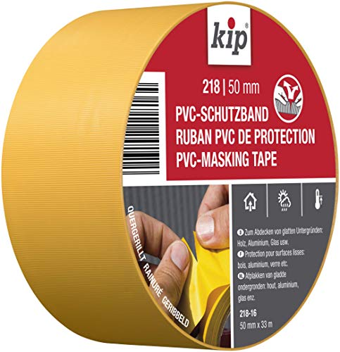 Kip Tape 218-16 Schutzband – Quergerilltes Abklebeband aus PVC zum Schutz glatter Untergründe – Selbstklebendes Klebeband zum Streichen & Lackieren – 50mm x 33m