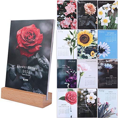 Blumen Kalender 2021, Tischkalender, 10.2 x 15.2 cm, Kleiner Mini-Schreibtischkalender, Monatskalender mit Staffelei, Geschenk für sie, buntes Home-Office-Dekor von UCEC