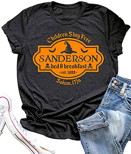 VKEGNIO Sanderson Sisters Halloween Shirt for Women Sanderson Bed and Breakfast Tee Hocus Pocus Funny Tshirt Fall Casual Shirts (Large, Dark Grey)