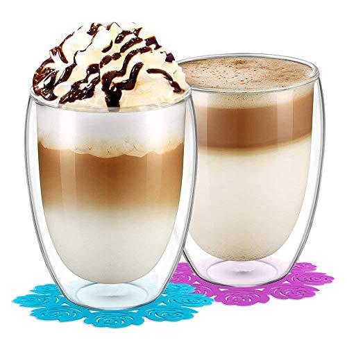 BOQO Doppelwandiges Glasbecher,Trinkgläser,Wasserglas,Gläsersets und Untersetzer(350ml/2er Set)