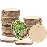 Rondin de Bois (Paquet de 50) Tranche de Bois Naturel de 3-5cm - Pré-percé Rondelle de Bois Disques pour Table Décorations, Arts Ornements, Bricolage, Loisirs