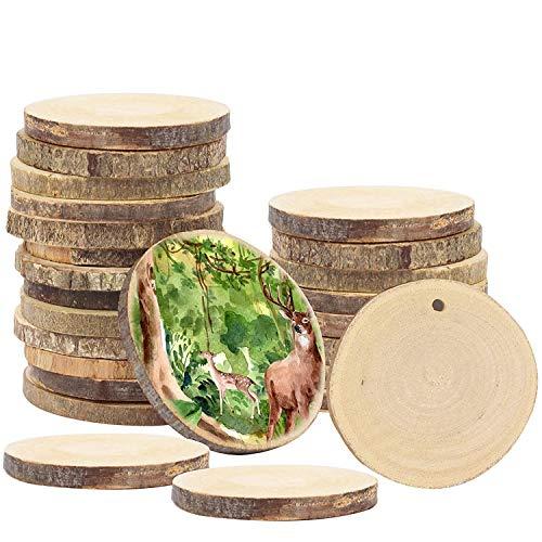 Holzscheiben (50 Stück) - 3-5cm Unbehandelte Natur Runde Baumscheiben mit Loch - Rustikale Log Holzkreise zum Aufhängen Handwerk Deko, Hochzeit Mittelstücke, DIY Basteln