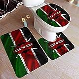 RedBeans Anti-Rutsch-Badteppich-Set, 3-teilig, Flanell-Badezimmerteppich-Set, Kenia-Flagge, weiches Wave, rutschfeste Duschmatte & WC-Decken-Vorleger Set