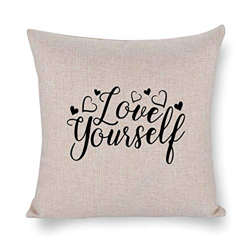 Yilooom 16 X 16 Inch Cotton Linen Square Throw Pillow Cases Cushion Covers, Bed Sofa Couch Car Home Decor, Happy Valentines Day Love Yourself