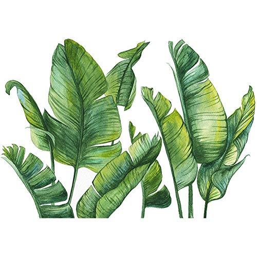 DYBTK Adesivo murale pianta Verde Foglia nordica Spiaggia Tropicale Foglie di Palma Adesivi murali pianta Fai da Te per Arredamento casa Soggiorno Cucina
