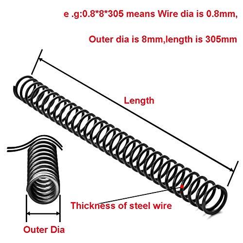 NO LOGO L-Yune, 1PCS Federstahldruckfeder-Y-Typ Druckfeder Draht Dia 2mm Außen-Ø 10-19mm Länge 305mm (Größe : 2x13x305mm)