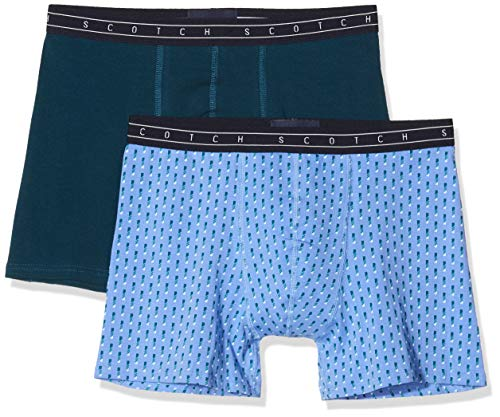 Scotch & Soda Herren Classic Boxer Short in All-Over Print and solid Boxershorts, Mehrfarbig (Combo C 0219), Large (Herstellergröße: L) (2er Pack)